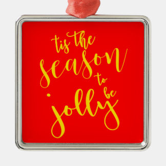 """Tis The Season"" Festive Holiday Themed Collection Silver-Colored Square Decoration"