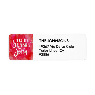 Tis the Season Red Watercolor White Typography Return Address Label