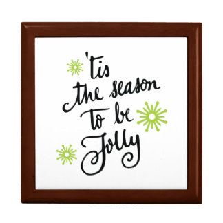 Tis the Season to be Jolly | lime green Large Square Gift Box