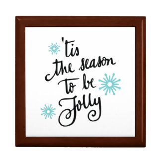 Tis the Season to be Jolly | turquoise blue Large Square Gift Box