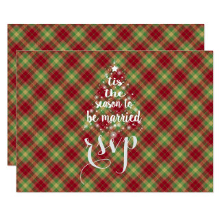 'Tis the season to be married Red Plaid RSVP Card