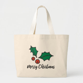 Tis the Season to Wear Holly Large Tote Bag