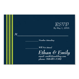 Tisbury - Navy and Green - RSVP Cards