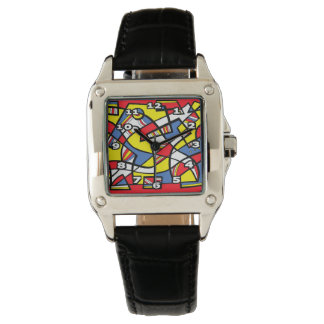 """Tischler"" Square Black Leather Watch"