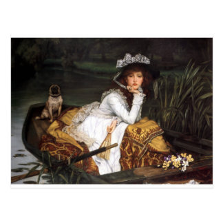 Tissot young lady and pug antique painting postcard