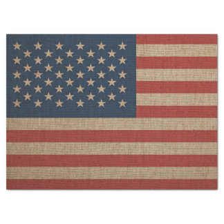 Tissue Paper with brown canvas flag of USA