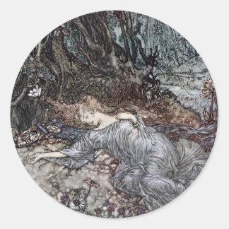 Titania Lying Asleep Classic Round Sticker