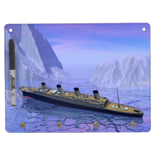 Titanic boat sinking - 3D render Dry Erase Board With Key Ring Holder