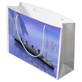 Titanic boat sinking - 3D render Large Gift Bag