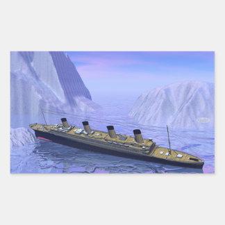 Titanic boat sinking - 3D render Rectangular Sticker