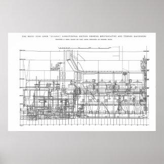 Titanic Engine Profile Plan Poster