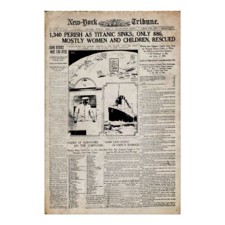 Titanic New York Tribune Newspaper Reprint Poster