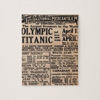 Titanic Newspaper Ad Puzzles