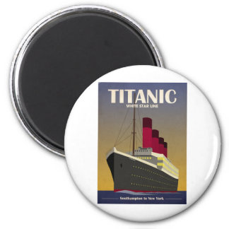 Titanic Ocean Liner Art Deco Print 6 Cm Round Magnet