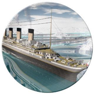 Titanic ship - 3D render Porcelain Plate