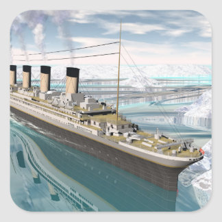 Titanic ship - 3D render Square Sticker