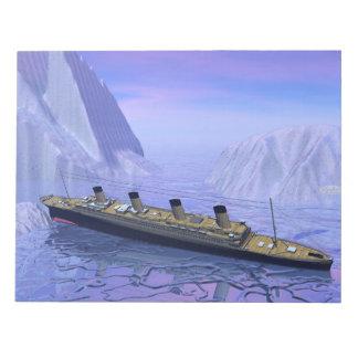 Titanic ship sinking - 3D render Notepad