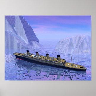 Titanic ship sinking - 3D render Poster