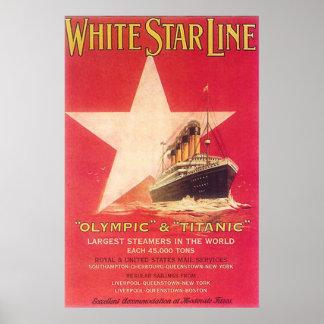 Titanic White Star Line Vintage Poster