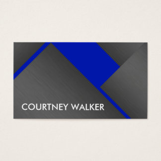 Titanium and blue bold angles business cards