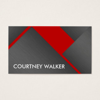 Titanium and red bold angles business cards