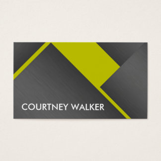 Titanium and yellow bold angles business cards