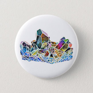 Titanium Quartz Healing Crystal Art Rainbow Aura 6 Cm Round Badge