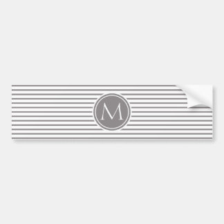 Titanium Thin Stripes Pattern and Monogram Bumper Sticker