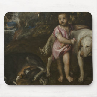 Titian - Boy with Dogs in a Landscape Mouse Pad