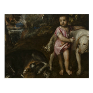 Titian - Boy with Dogs in a Landscape Postcard