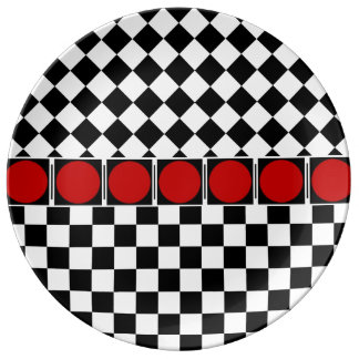 TITLE: Stylish Black White Half Diamond Checkers r Plate