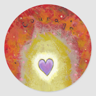 Title:  Tiny Art #596 - Purple heart for courage Classic Round Sticker