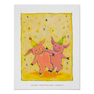 Titled:  2010 Pigs - Fun New Year party pig art Poster