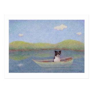 Titled: Bob's Dream - Dog adrift alone in a boat Postcard