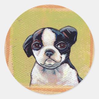 Titled:  Brilliant  -  Boston Terrier puppy dog Round Sticker