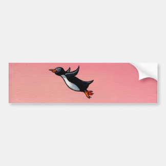 Titled: Eternal Optimist - ambitious penguin art Bumper Sticker