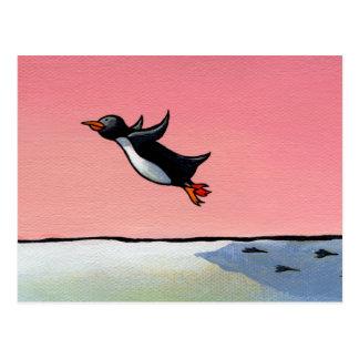 Titled: Eternal Optimist - ambitious penguin art Postcard