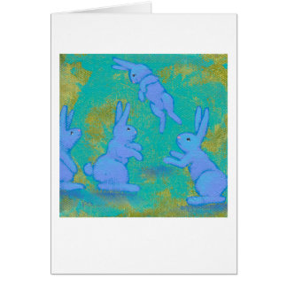 Titled:  Floating Blue - bunny rabbit modern ART Greeting Card