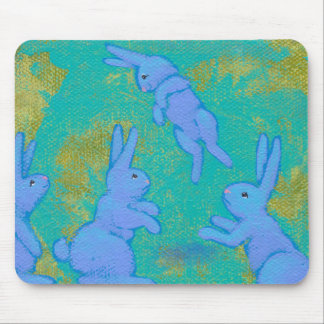 Titled:  Floating Blue - bunny rabbit modern ART Mouse Pad