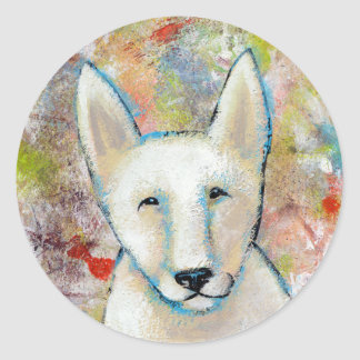 Titled:  Fred is a Happy Dog Classic Round Sticker