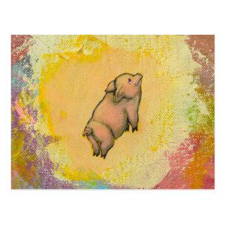 Titled:  (In Motion) Action - flying pot belly pig Postcard
