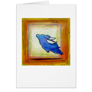 Titled:  Little Blue Pig - hope faith PERSONALIZED Greeting Card
