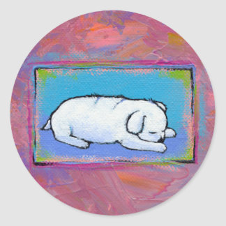Titled:  Medicine  -  Adorable sleeping puppy Round Stickers