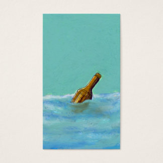 Titled:  Message - bottle at sea drawing ART Business Card