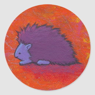 Titled:  Prickly - Fun colorful porcupine art Classic Round Sticker