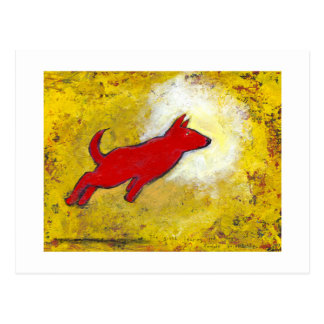 Titled:  Red Dog - fun playful art Postcard