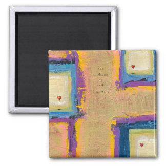 Titled:  Seeing Love - fun unique artist designed Square Magnet
