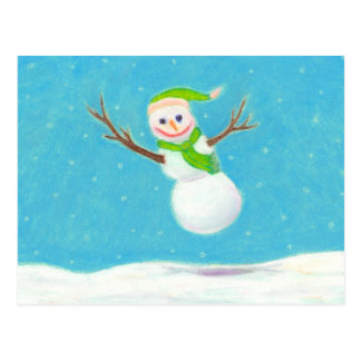 Titled Snow Flake - goofy leaping snowman ART Post Card