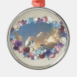 titmouse couple in floral wreath christmas tree ornaments