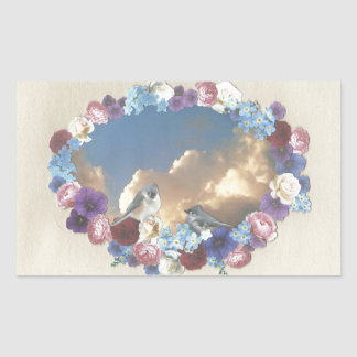 titmouse couple in floral wreath rectangular stickers